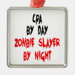 Zombie Slayer CPA Square Metal Christmas Ornament