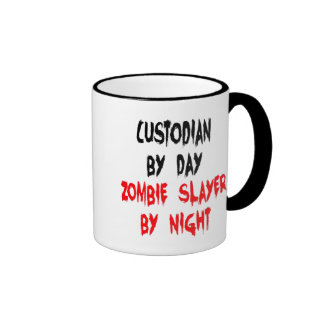 Zombie Slayer Custodian Ringer Coffee Mug