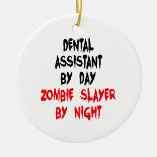 Zombie Slayer Dental Assistant Double-Sided Ceramic Round Christmas Ornament