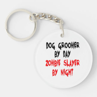 Zombie Slayer Dog Groomer Double-Sided Round Acrylic Keychain