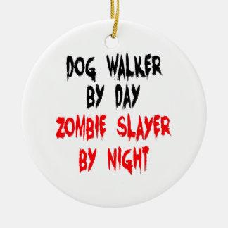 Zombie Slayer Dog Walker Double-Sided Ceramic Round Christmas Ornament