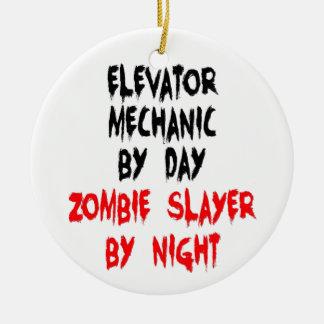 Zombie Slayer Elevator Mechanic Double-Sided Ceramic Round Christmas Ornament