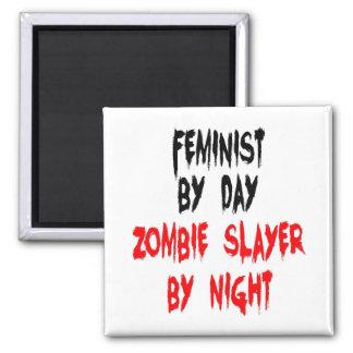 Zombie Slayer Feminist 2 Inch Square Magnet