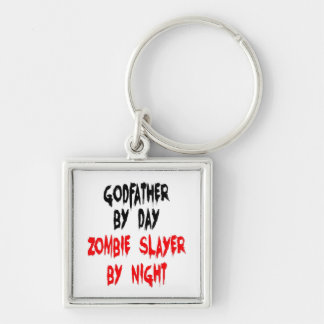 Zombie Slayer Godfather Silver-Colored Square Keychain