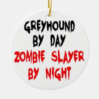 Zombie Slayer Greyhound Dog Double-Sided Ceramic Round Christmas Ornament