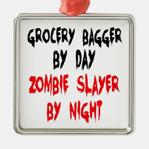 Zombie Slayer Grocery Bagger Christmas Tree Ornaments