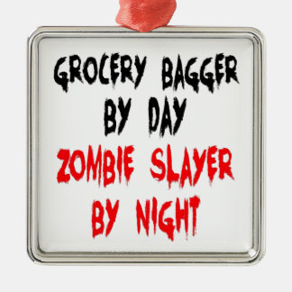 Zombie Slayer Grocery Bagger Square Metal Christmas Ornament