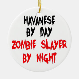 Zombie Slayer Havanese Dog Double-Sided Ceramic Round Christmas Ornament