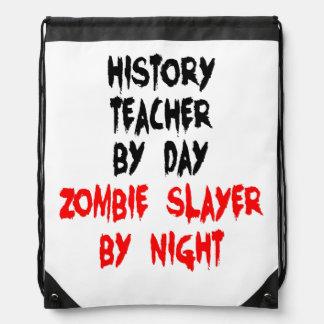 Zombie Slayer History Teacher Drawstring Backpack