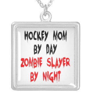 Zombie Slayer Hockey Mom Silver Plated Necklace