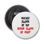 Zombie Slayer Hockey Player Button Bottle Opener