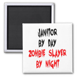 Zombie Slayer Janitor 2 Inch Square Magnet