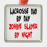 Zombie Slayer Lacrosse Dad Christmas Ornaments