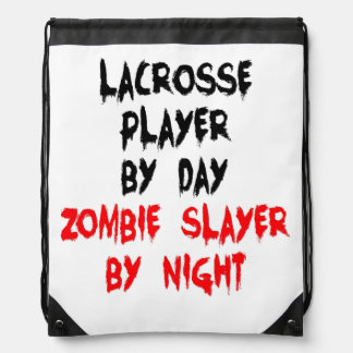 Zombie Slayer Lacrosse Player Drawstring Backpack