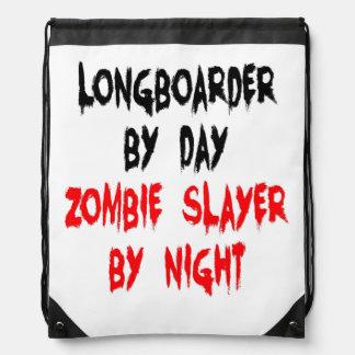 Zombie Slayer Longboarder Drawstring Bags
