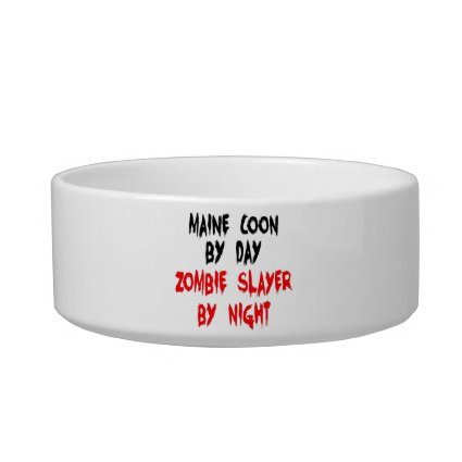 Zombie Slayer Maine Coon Cat Cat Water Bowl