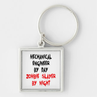Zombie Slayer Mechanical Engineer Silver-Colored Square Keychain