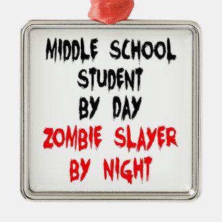 Zombie Slayer Middle School Student Square Metal Christmas Ornament