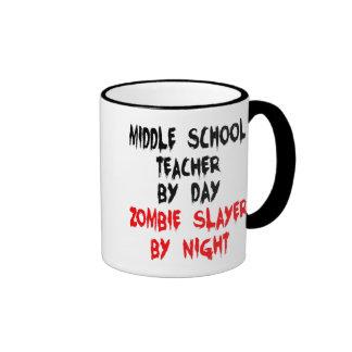 Zombie Slayer Middle School Teacher Ringer Coffee Mug