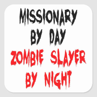 Zombie Slayer Missionary Square Stickers