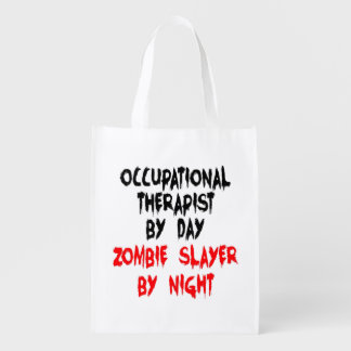 Zombie Slayer Occupational Therapist Reusable Grocery Bags