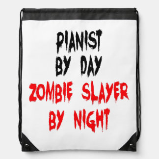 Zombie Slayer Pianist Drawstring Backpack