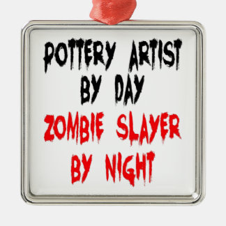 Zombie Slayer Pottery Artist Metal Ornament