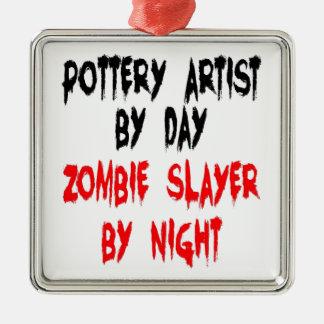 Zombie Slayer Pottery Artist Square Metal Christmas Ornament