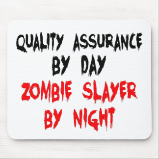 Zombie Slayer Quality Assurance Worker Mouse Pads