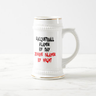 Zombie Slayer Racquetball Player 18 Oz Beer Stein