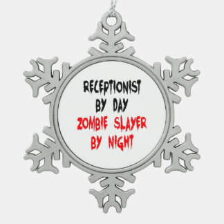 Zombie Slayer Receptionist Snowflake Pewter Christmas Ornament