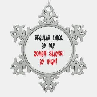 Zombie Slayer Regular Chick Snowflake Pewter Christmas Ornament