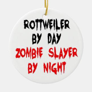 Zombie Slayer Rottweiler Dog Double-Sided Ceramic Round Christmas Ornament