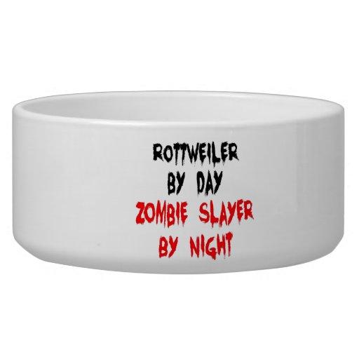 Zombie Slayer Rottweiler Dog Pet Bowls