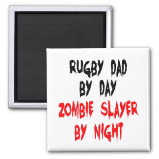 Zombie Slayer Rugby Dad 2 Inch Square Magnet