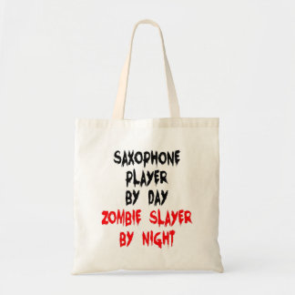 Zombie Slayer Saxophone Player Tote Bag