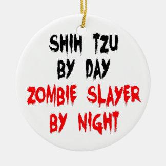 Zombie Slayer Shih Tzu Dog Double-Sided Ceramic Round Christmas Ornament