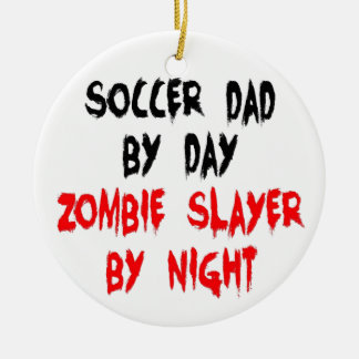 Zombie Slayer Soccer Dad Double-Sided Ceramic Round Christmas Ornament