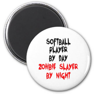 Zombie Slayer Softball Player 2 Inch Round Magnet