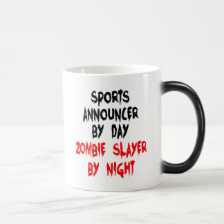 Zombie Slayer Sports Announcer Mugs