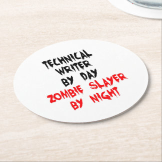 Zombie Slayer Technical Writer Round Paper Coaster