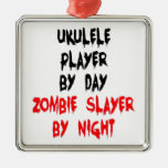 Zombie Slayer Ukulele Player Metal Ornament