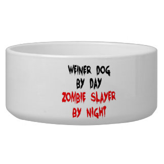 Zombie Slayer Weiner Dog Dog Bowls