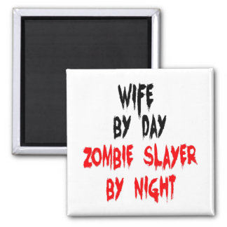 Zombie Slayer Wife 2 Inch Square Magnet