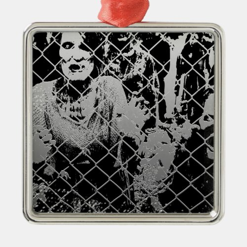 Zombie Square Metal Christmas Ornament