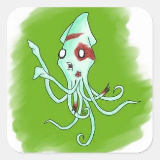 Zombie Squid Square Sticker