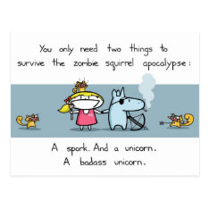 Zombie Squirrel Apocalypse Postcard at Zazzle