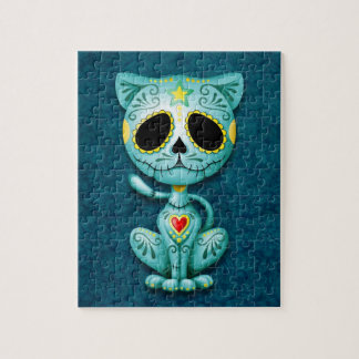 Zombie Sugar Kitten, blue Jigsaw Puzzle