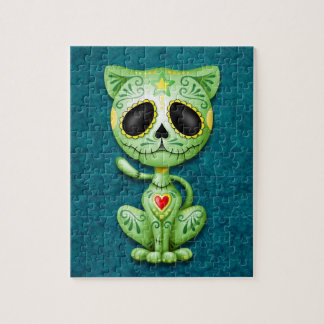 Zombie Sugar Kitten, green and blue Jigsaw Puzzle