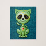 Zombie Sugar Kitten, green and blue Puzzle